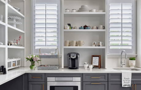 """3.5"""" Louver Wood Shutters in a Kitchen"""