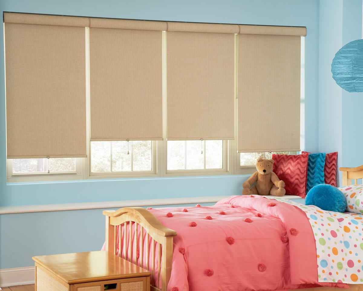 designer roller shades in children's bedroom