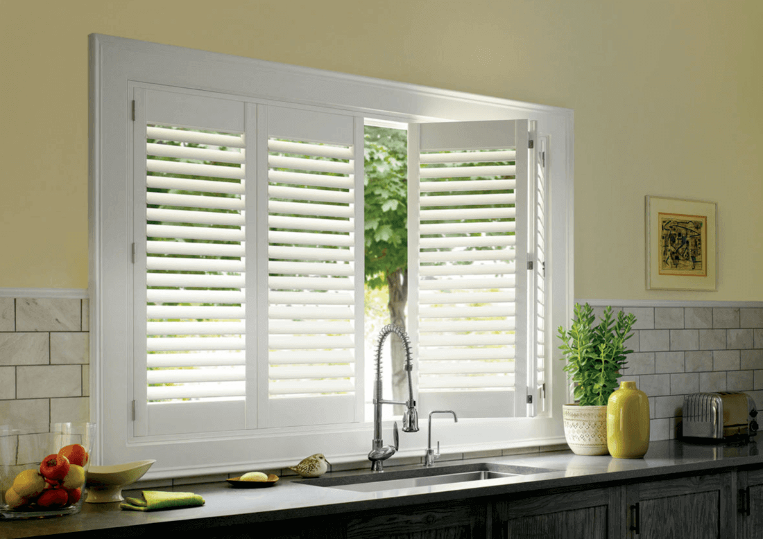 Uses of Plantation Shutters in Homes Near Charlotte, North & South, Carolina for Wide Kitchen Windows